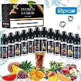 E Liquide pour Cigarette Electronique,Gifort 50VG/50PG Vape E Liquide pour E-Cigarette Eliquide sans Nicotine ni Tabac (12 * 10 ml),