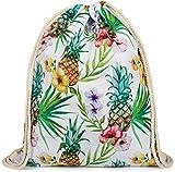 styleBREAKER bolsa de deporte tropical con estampado «all over» de piñas, flores y palmeras, mochila, bolsa de deporte, bolsa, unisex 02012236, Color Multicolor