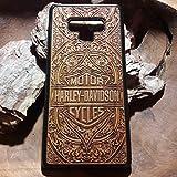 Galaxy S9 Plus, S8, S6, S7 Edge, iPhone 7 8 6S X XR XS Max, Note 9/8 Funda dura de madera de cerezo para Apple y Samsung Carcasa protectora de móvil Diseño Harley Davidson en marrón grabada a láser