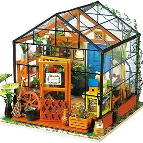 Skwenp 3D Green House Craft Kits DIY Casa de Madera Casa de muñecas con Muebles y Accesorios Asamblea Modelo for niñas y…