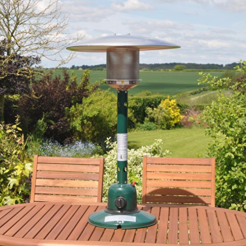 The Kingfisher PH300 Garden Outdoor Table Top Patio Heater is a gas model that you can purchase for an affordable price. Dark green in colour, the table top model has been given a powder coat finish to protect the unit from the elements.