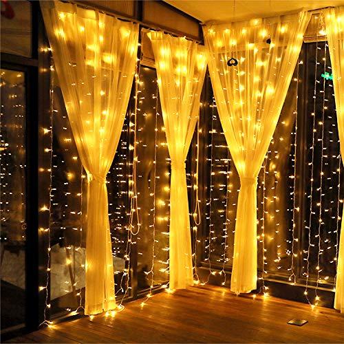 Meamae care Catene Luminose 3M x 3M 300 Luci di Natale esterno e interno a 8 Modalità, Tenda...