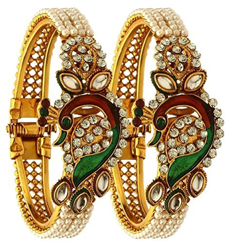Zeneme Dancing Peacock Antique Gold Plated Bangle set for women