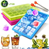 Gifort Eiswürfelform, Eiskugelform, DIY Silikon-Eiswürfelform, 3 Pack Silikon Eiswürfelformen-2.5cm Würfel Eiswürfel, Eiswürfelbehälter für Familie, Partys und Bars(3Pack-Grün Blau Rot) (A)
