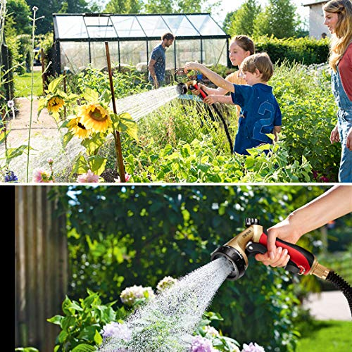 Experience the Crenova 30M Garden Expandable Hose that can stretch up to three times its size. Whether you are washing the car or watering the bushes on the further end of the garden, this hose will not tangle nor twist nor kink facilitating a user-friendly experience. This hose expands from 33ft to 100ft easily enabling you to access different areas of the garden.