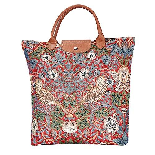SIGNARE Bolsa de la compra Plegable tapiz mujer (Ladrón de fresas rojo)