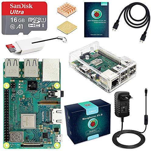 ABOX Raspberry Pi 3 B+ Starter Kit Scheda Madre con MicroSD Card 16GB SanDisk Class 10, Custodia Trasparente, Alimentatore 5V 3A con Interruttore, Cavo HDMI e Lettore Schede di Memoria Micro SD