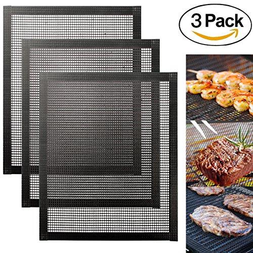 MojiDecor Tappetini Griglia BBQ Set 3 Pezzi Tappeti a Rete per Barbecue Riutilizzabili Antiaderente...