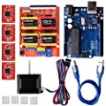Quimat Arduino CNC Kit with Stepping Motor,CNC Shield V3.0 + UNO R3 + 4 PCS A4988 Driver + Nema 17 Stepping Motor for 3D Printer CNC,GRBL Compatible