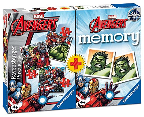 Ravensburger 21193 - Marvel Avengers Multipack 3 Puzzle con 1 Memory