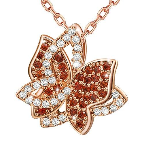 Marenja Collar Mujer de Moda-Colgante Mariposa con Cadena-Joya Chapada en Oro Rosa con Cristal