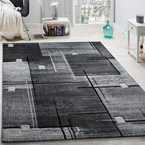 Paco Home Elegante Tappeto Firmato con Bordo A Quadri in Grigio E Nero mélange, Dimensione:200x290 cm