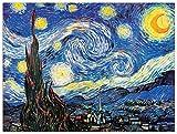 Artopweb Pannelli Decorativi Van Gogh Starry Night Quadro, Legno, Carta, Vernice, 80x1.8x60 cm