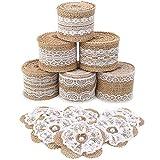 SOLEDI 6 Rollos de Cinta de Arpillera de Encaje Blanco Cinta Adhesiva con 6Piezas de Encaje de Arpillera Hecho a Mano Flores con Perla para el Embalaje de Regalo de Navidad de Vacaciones de Artesanía