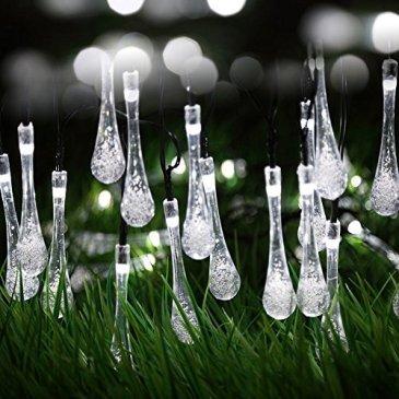 Berocia Guirlande Lumineuse Interieur Solaire Exterieur LED 6.5 Mètre 30 LED 8 Modes Goutte d'eau en Cristal pour Chambre Enfant Jardin Noël Fête