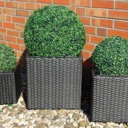 """floristikvergleich.de Blumenkübel Pflanzkübel Pflanzgefäße Übertöpfe Blumentöpfe Polyrattan """"Block Design""""schw. 46/36/27cm"""