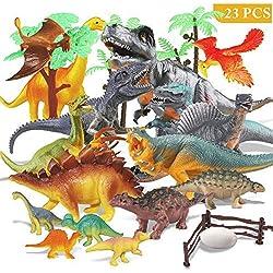 Estela Joylink - Juego de 17 Figuras de Dinosaurio realistas, Juguete para Fiestas de cumpleaños Infantiles, decoración de los Cuatro pequeños Dinosaurios es Aleatorio
