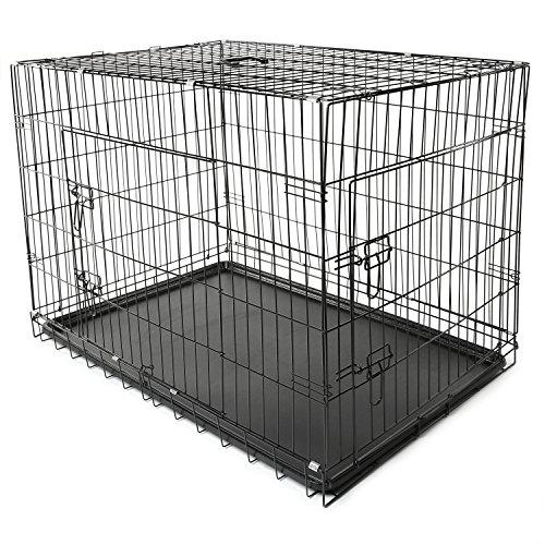 TRESKO Box per il trasporto di cani, gatti, Casse, Gabbia in metallo richiudibile, 2 porte...