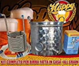 Hoppy Kit Completo Birra All Grain Pentola 35 Lt Filtrante + Serpentina Inox + Mulino