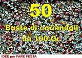 CARNEVALE CORIANDOLI 50 BUSTE da 100 GR. PARTY FESTA
