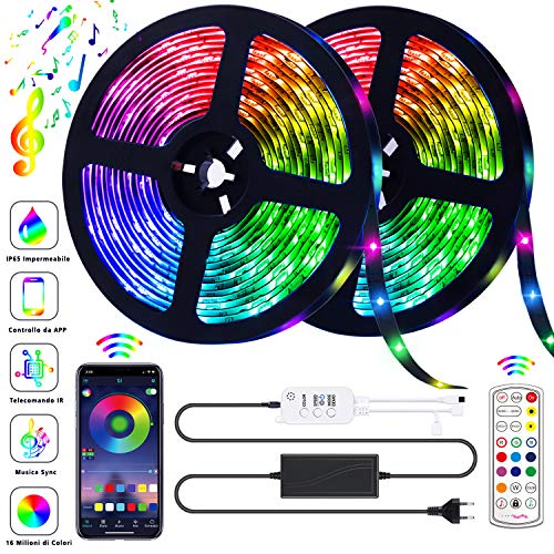 AOTIBESO Striscia LED RGB 10M Strisce Luminose Luci LED Strip Lights 300LEDs SMD5050 Impermeabili + Bluetooth Controller +24 Tasti Telecomando Nastri Decorativa per Casa TV Feste [Controllato da APP]