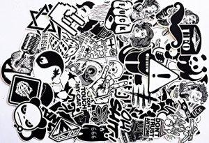 Aufkleber Schwarz-Weiß Graffiti Decals Bumper Stickers für Auto, Skateboard, Reisekoffer, Motorräder, Fahrräder, Boote, Laptop, Skatboard und auf Glatte Oberflächen 1