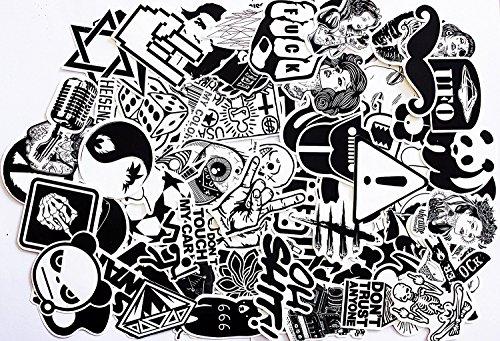 240 St. Aufkleber Schwarz-Weiß Graffiti Decals Stickers für Auto Skateboard Reisekoffer Motor-/Fahrrad Boot Computer/Laptop/Tablet Kinderzimmer uvm., fast auf alle glatten u. sauberen Oberflächen