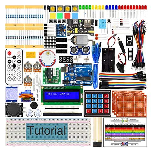 Freenove Ultimate Starter Kit con R3 Bordo (Compatibile con Arduino), Guide Dettagliate di 260 Pagine, 217 Articoli, 51 Progetti, Breadboard di Saldatura Libera