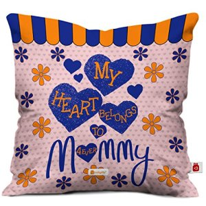 Indigifts My Heart Belongs To Mommy Printed Cushion Cover With Filler 12x12 Inch House Warming Gift For Mom Mother In Law Be On Her Birthday