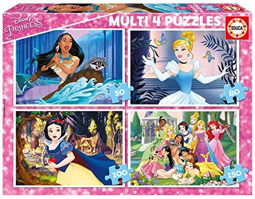 Educa Borras Multi 4 Puzzles Disney Princess 50+80+100+150 Puzzle, Colore Vario, 17637