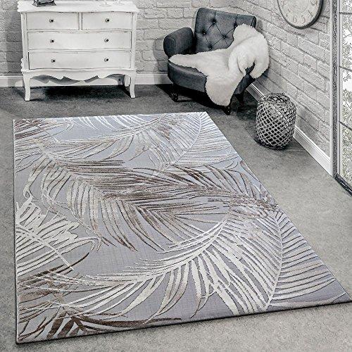 Paco Home Tappeto di Design Moderno Soggiorno 3D Motivo Palme in Grigio Beige Crema,...