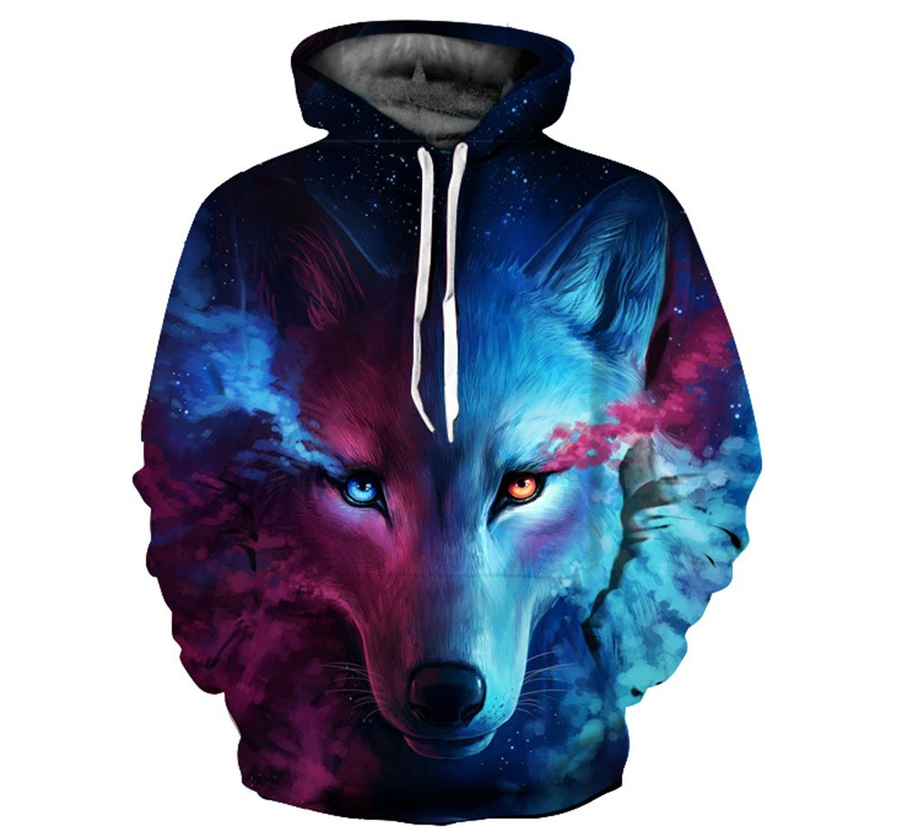 Hellomiko Men s Couple Sweatshirts-Wolf Printed Hoodies 3D ... 50bdcfa81