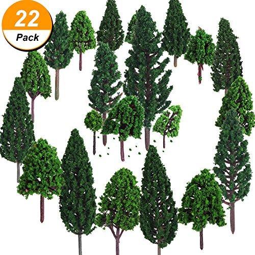 Bememo 22 Pezzi Alberi Modello 3 - 16 cm Misto Treno Albero Alberi Ferroviari Scenario Albero di Diorama Alberi di Architettura per Fai da Te Paesaggio, Verde Naturale