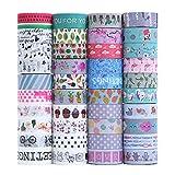 Juego de 40 rollos de cinta adhesiva decorativa Washi para manualidades, diarios, planificadores