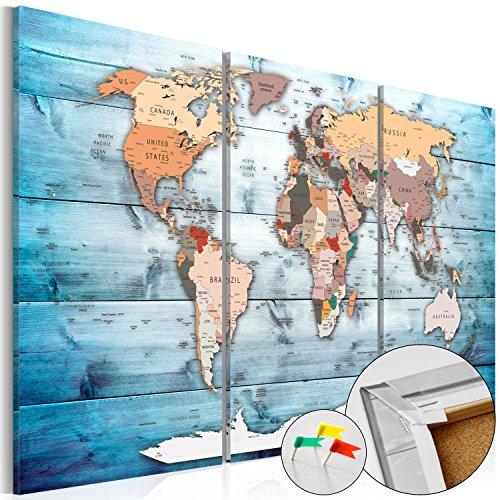 murando – Lavagna di sughero 120x80 cm -3 Partes - Quadro su tela – Poster Mappa del mondo...