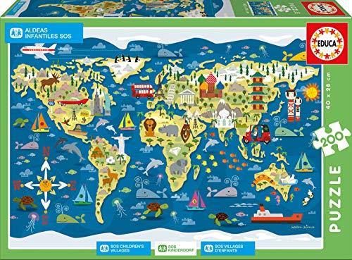 Educa Borras-200 World Map, Sean Sims-SOS ChildrenŽs Villages Puzzle, Colore Vario, 17727