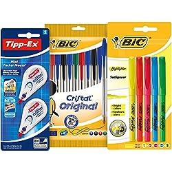 BIC y Tipp-Ex Set Vuelta al Cole de 10 bolígrafos, 5 Marcadores Fluorescentes y 2 Cintas Correctoras
