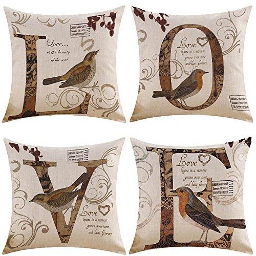 MIULEE Set di 4 Cuscino Stampato Lino Federe Love Decorativo Quadrato Federe Cuscino Set Custodia...