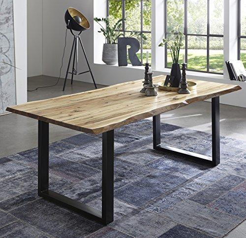 SAM Esszimmertisch 120x80 cm Quintus, echte Baumkante, naturfarben, massiver Esstisch aus Akazienholz, Metallbeine schwarz, Baumkantentisch