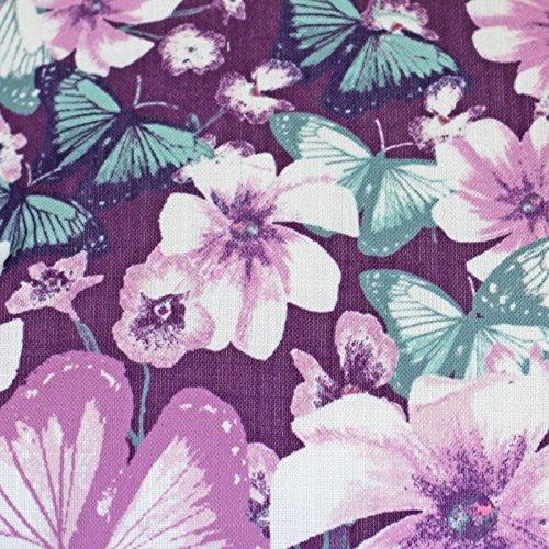 Just Contempo - Cojín Reversible, diseño de Mariposas y Flores, poliéster, Azul, Morado, Verde, cojín Cuadrado Relleno - 43 cm x 43 cm