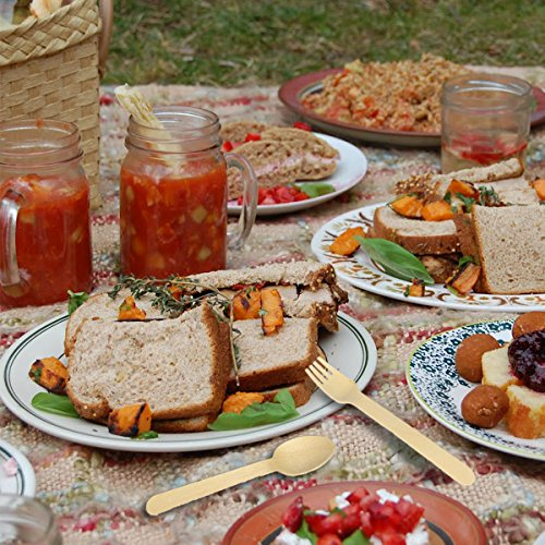 VIMOV 200 Pieza Cubiertos de Madera Desechables, Utensilios Biodegradables para Fiestas, Camping, Picnic, Barbacoa, Evento (100 Tenedores de Madera, 50 Cuchillos de Madera, 50 cucharas de Madera) 4