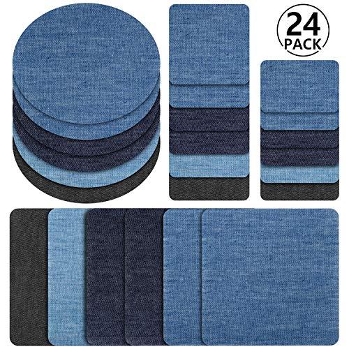 Patches zum aufbügeln, Rymall 24 Stück 6 Farben Denim Baumwolle...
