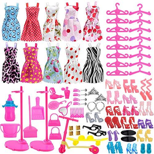 Asiv 110Pz Vestiti e Accessori per Barbie Bambole, incl 10Pz Mini Gonna Carina + 14 Paia di Scarpe +...