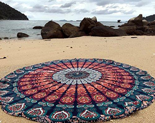 Raajase, Tappeto Rotondo Mandala in Stile Hippy, Utilizzabile Come copriletto, arazzo Decorativo,...
