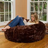 Mollismoons Fabric Leather Fur U and I Design Bean Bag and Cover, XXXL/9mm (Brown)