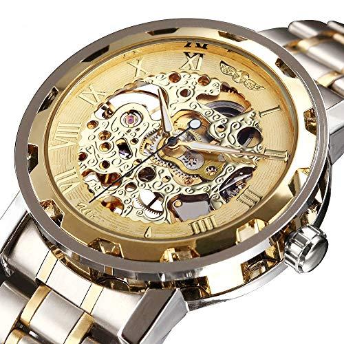 Bernsuisse Winner Stainless Steel Skeleton Mechanical Wristwatch for Men - 109 Golden