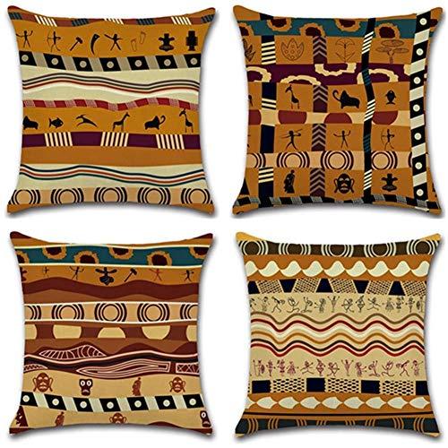 Gspirit federe Stile Etnico Africano 4 Pack Cuscini per divani Decorativo Cotone Biancheria Cuscino copricuscini Divano Caso Federa per Cuscino 45x45 cm