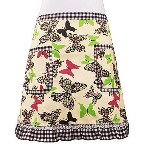 Cute Verde Mariposa Cintura delantal servidor delantal con 2bolsillos comercial restaurante camarera camarero para niña mujer mitad Bistro delantales