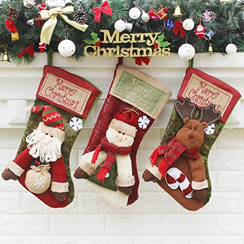 Onebycitess Lovely Christmas Stockings Set of 3 Santa Reindeer Snowman Xmas Nonwovens Tree Bag Hanging Gift Socks Handmade Stockings