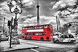 Cuadro sobre Lienzo – Red Bus En Londres Negro Blanco De N Paisajes Transportación Arte Pared Impresións – 120X80 cm